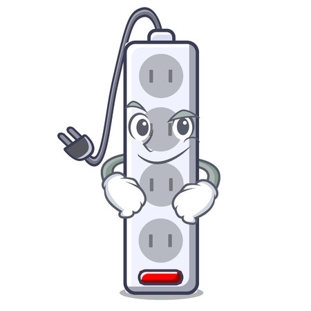Smirking power strip attaches the cartoon table vector illustration