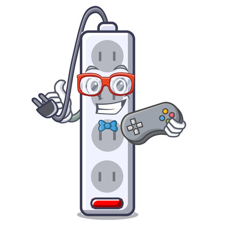 Gamer isolated power strip with the mascot vector illustration