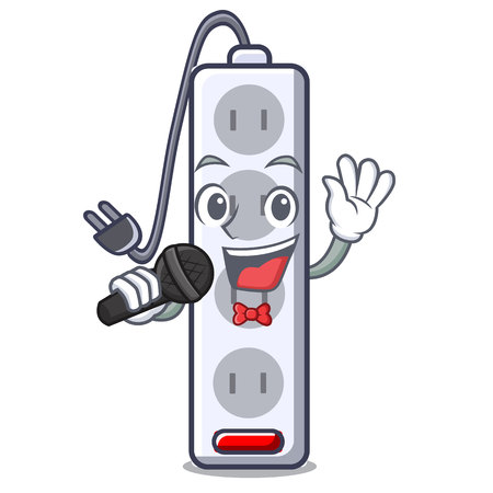 Singing isolated power strip with the mascot vector illustration  イラスト・ベクター素材