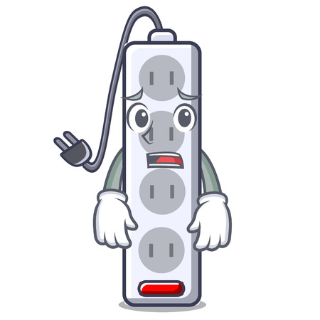 Afraid isolated power strip with the mascot vector illustration