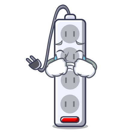 Crying isolated power strip with the mascot vector illustration