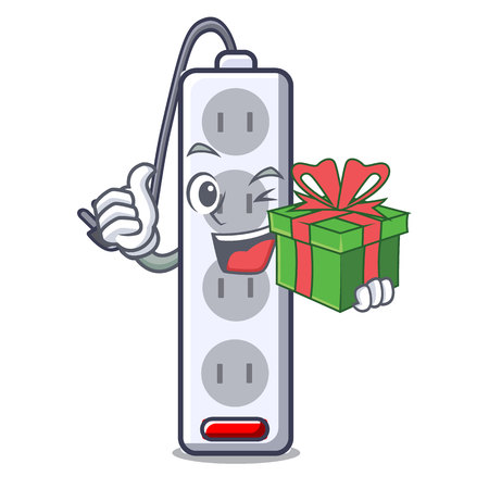 With gift isolated power strip with the mascot vector illustration
