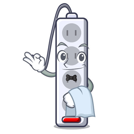 Waiter isolated power strip with the mascot vector illustration  イラスト・ベクター素材