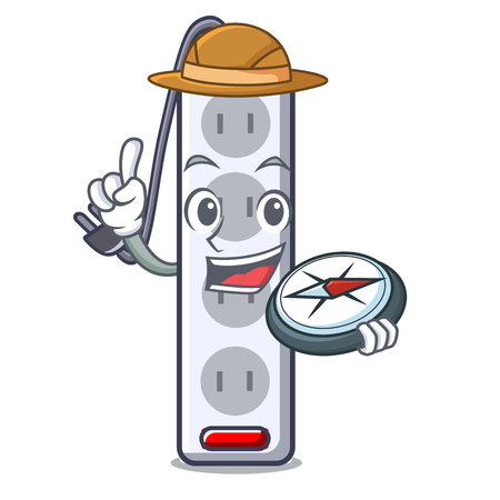 Explorer isolated power strip with the mascot vector illustration