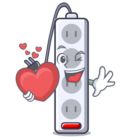 With heart isolated power strip with the mascot vector illustration  イラスト・ベクター素材