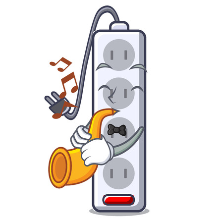 With trumpet isolated power strip with the mascot vector illustration