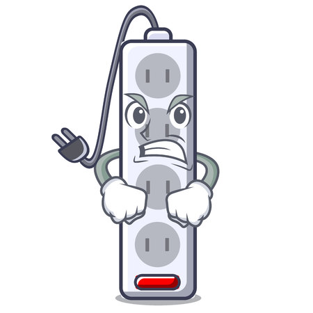 Angry isolated power strip with the mascot vector illustration