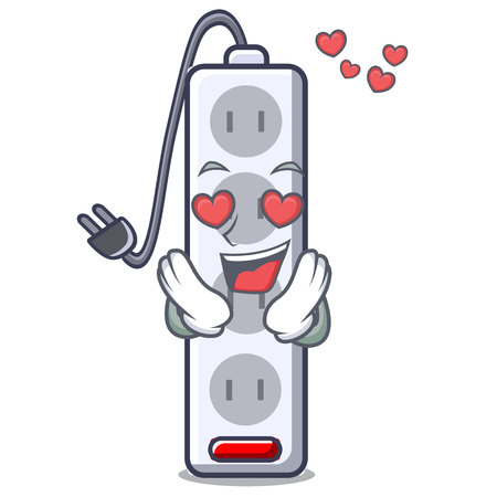 In love isolated power strip with the mascot vector illustration