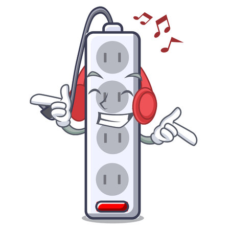 Listening music isolated power strip with the mascot vector illustration  イラスト・ベクター素材