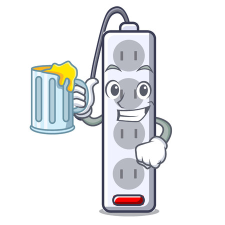 With juice isolated power strip with the mascot vector illustration