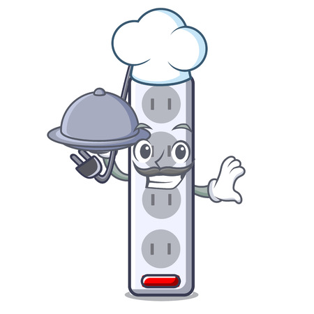 Chef with food isolated power strip with the mascot vector illustration
