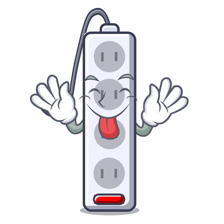 Tongue out isolated power strip with the mascot vector illustration Иллюстрация