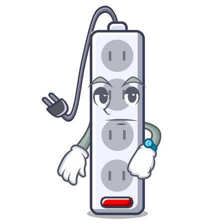Waiting isolated power strip with the mascot vector illustration Ilustração