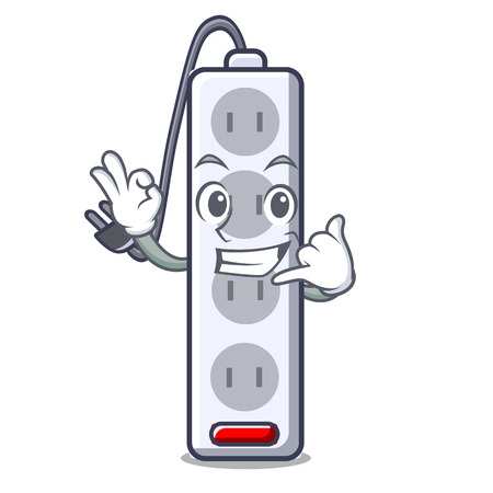 Call me isolated power strip with the mascot vector illustration