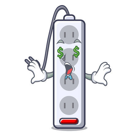Money eye isolated power strip with the mascot vector illustration