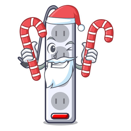 Santa with candy isolated power strip with the mascot vector illustration