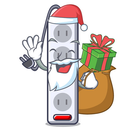 Santa with gift isolated power strip with the mascot vector illustration