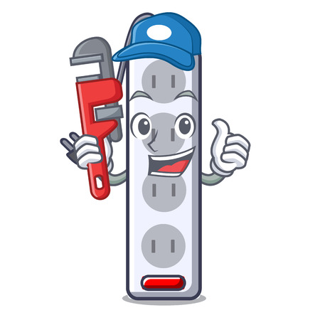 Plumber isolated power strip with the mascot vector illustration