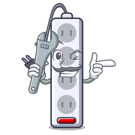 Mechanic isolated power strip with the mascot vector illustration