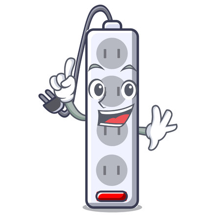 Finger isolated power strip with the mascot vector illustration Banco de Imagens - 124817840