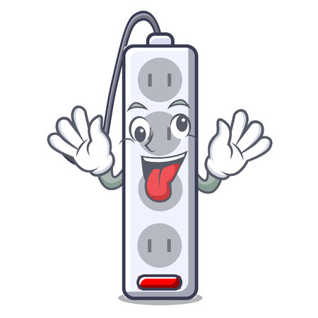 Crazy isolated power strip with the mascot vector illustration Ilustração