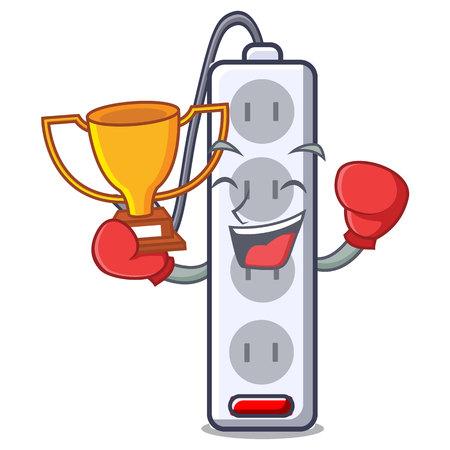 Boxing winner isolated power strip with the mascot vector illustration Banco de Imagens - 124817846