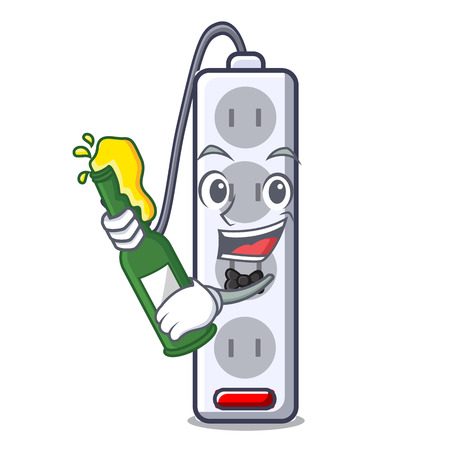 With beer isolated power strip with the mascot vector illustration