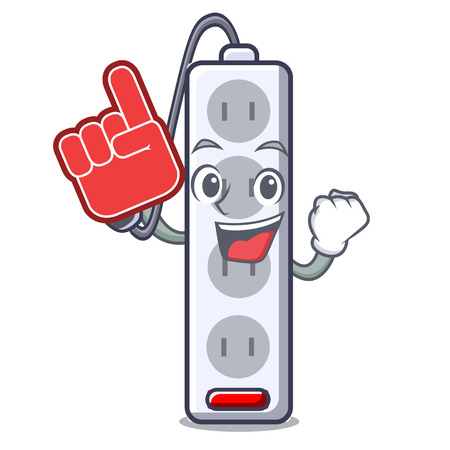 Foam finger isolated power strip with the mascot