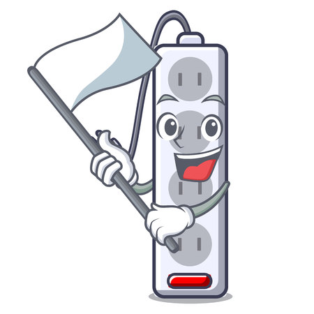 With flag isolated power strip with the mascot vector illustration Imagens - 124817848