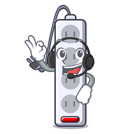 With headphone isolated power strip with the mascot vector illustration
