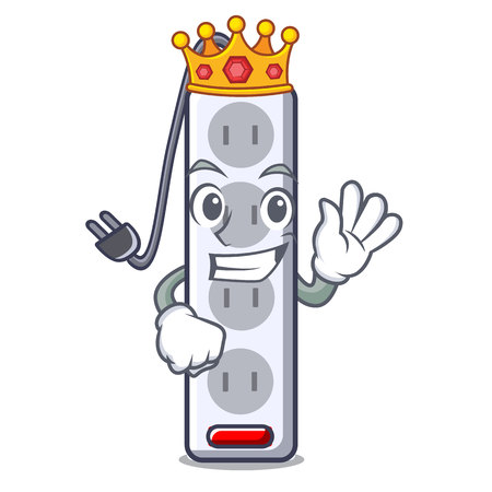 King isolated power strip with the mascot vector illustration Banco de Imagens - 124817852