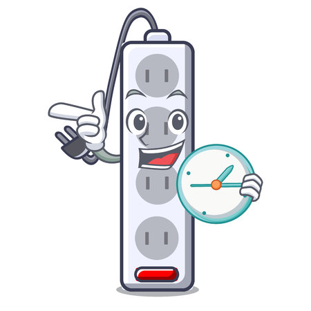 With clock power strip attaches the cartoon table vector illustration