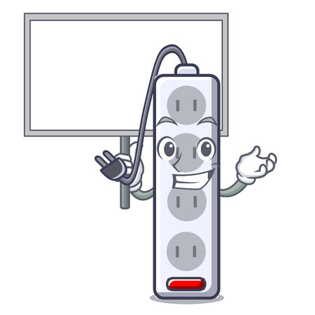 Bring board power strip in the character shape vector illustration Ilustração