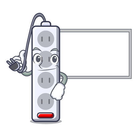 Thumbs up with board power strip in the character shape vector illustration