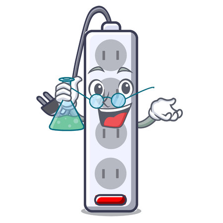 Professor power strip attaches the cartoon table vector illustration Ilustração