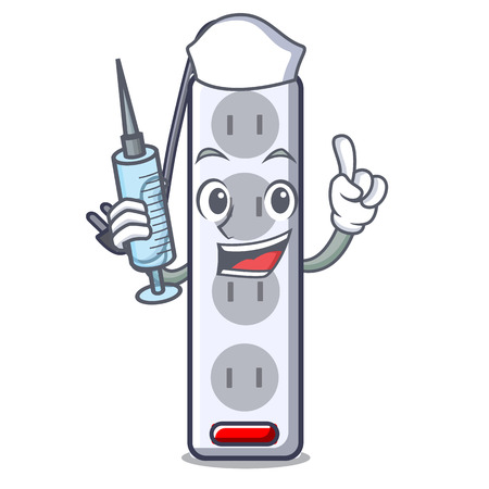 Nurse power strip attaches the cartoon table vector illustration Ilustração