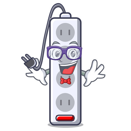 Geek power strip attaches the cartoon table vector illustration