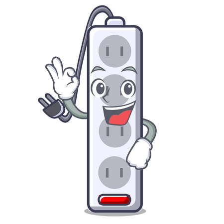 Okay power strip attaches the cartoon table vector illustration