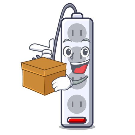With box power strip attaches the cartoon table vector illustration