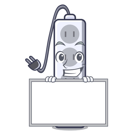 Grinning with board power strip in the character shape vector illustration