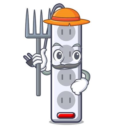 Farmer power strip in the character shape vector illustration