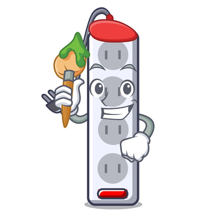 Artist power strip in the character shape vector illustration