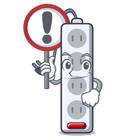 With sign power strip in the character shape vector illustration