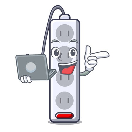 With laptop power strip in the character shape vector illustration
