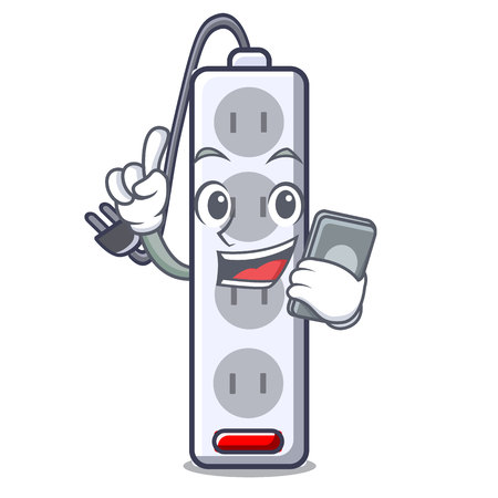 With phone power strip in the character shape vector illustration Illustration
