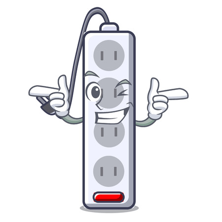 Wink power strip attaches the cartoon table vector illustration