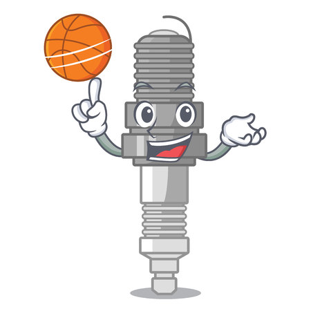 With basketball spark plug in the character shape vector illustration Illustration