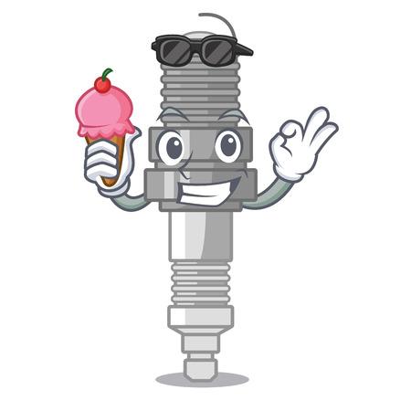 With ice cream spark plug in a cartoon box vector illustration