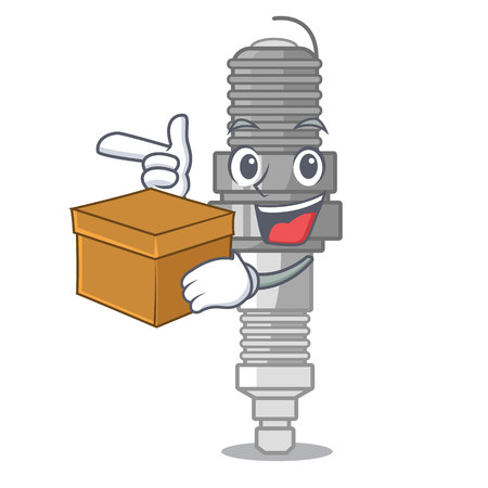 With box spark plug in a cartoon box vector illustration Çizim