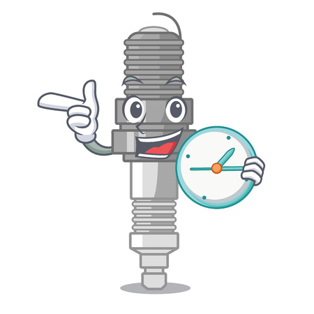 With clock spark plug in a cartoon box vector illustration Illustration
